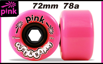 PINK ウィール  POWERBALLS 72mm 78a 【スケートボード ソフト ウィール】【ピンク ロンスケ】【日本正規品】