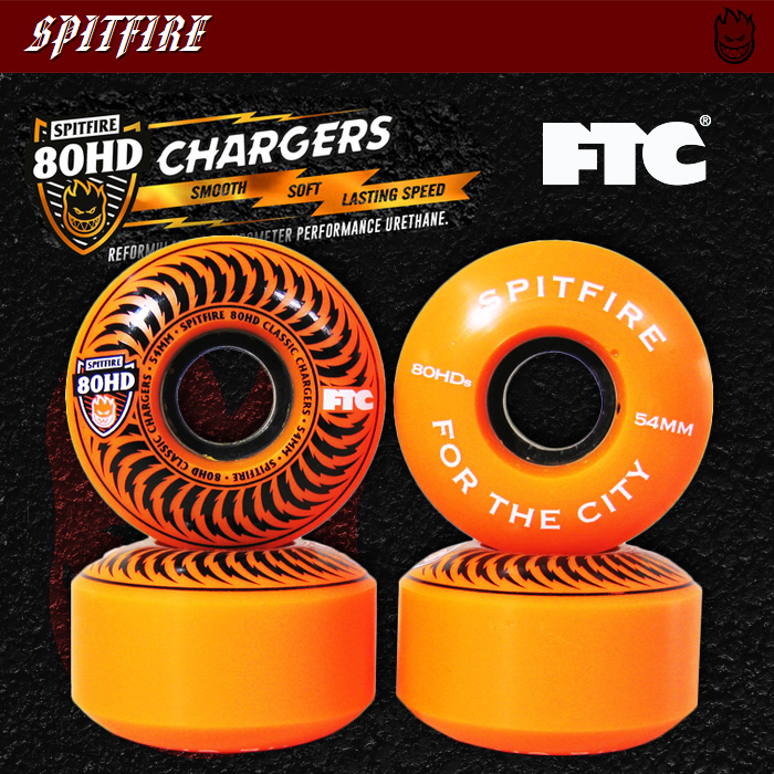 SPITFIRE ウィール FTC 80HD CHARGERS CLASSIC ORANGE 54mm 【スケートボード ソフト ウィール】【スピットファイア エフティーシー】【日本正規品】