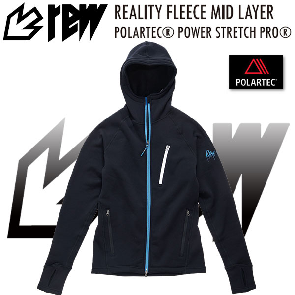 REW REALITY FLEECE MID LAYER TOP リアリティー フリース ミッドレイヤー POLARTEC POWER DRY STRETCH PRO BLUE【日本正規品】