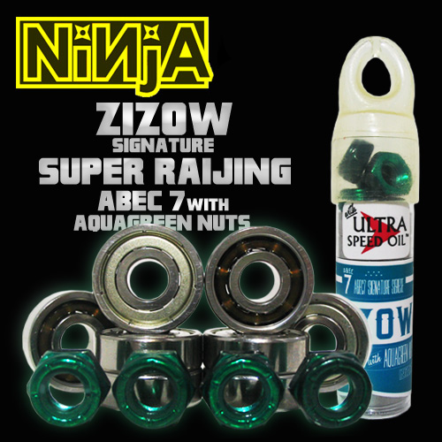 NINJA ベアリング ABEC 7 ZIZOW signature SUPERRAIJING with 4nuts by BLOW NUTS 【日本正規品】