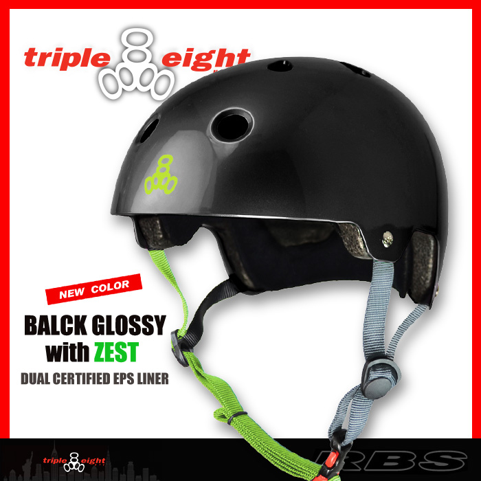 TRIPLE EIGHT ヘルメット DUAL CERTIFIED/BALCK GLOSSY with ZEST 【日本正規品】