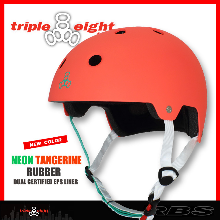 TRIPLE EIGHT ヘルメット DUAL CERTIFIED/NEON TANGERINE RUBBER 【日本正規品】