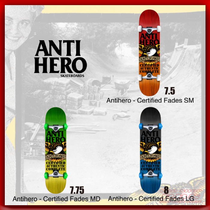 ANTIHERO スケートボード コンプリートセット CERTIFIED FADES 7.5/7.75/8.0 【日本正規品】
