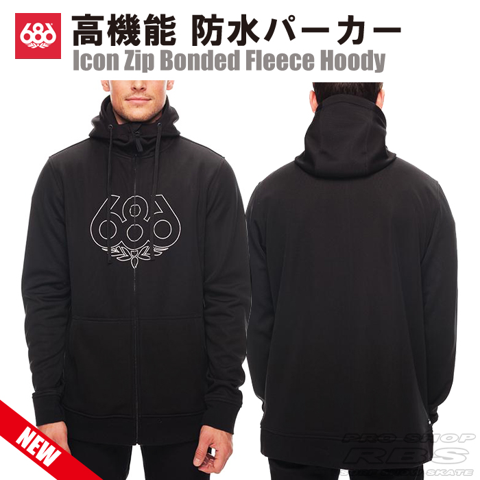 686 パーカー ICON ZIP BONDED FLEECE HOODY カラー BLACK【日本正規品】