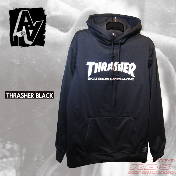 17-18 AA HARD WEAR  THRASHER パーカー BONDED PULLOVER  カラー THRASHER  BLACK【日本正規品】