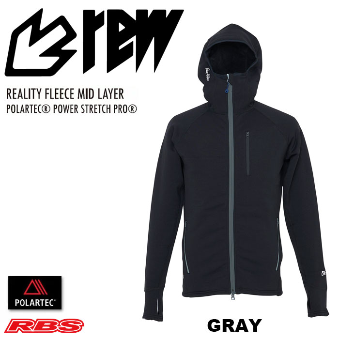 REW REALITY FLEECE MID LAYER TOP リアリティー フリース ミッドレイヤー POLARTEC POWER DRY STRETCH PRO GRAY【日本正規品】